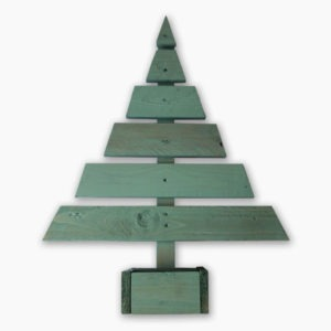 Green painted tree handmade from reclaimed pallet timber